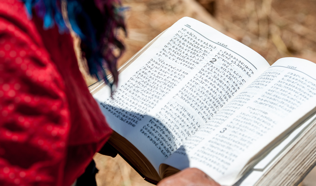 Picture: An old Christian woman holds up a bible printed in Miao script in Xiaoshuijing village, Fumin county.