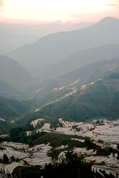 Picture: The Yuanyang Rice Terraces at Tiger Mouth 老虎嘴 in the afternoon sun.